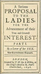 Title page of Astell's proposal to the Ladies, on education for women