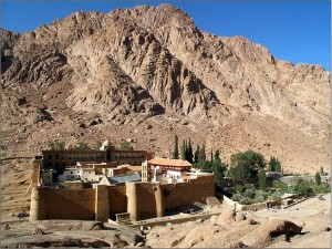 The monastery of Saint Catherine at the foot of Mount Sinai; possibly the oldest working monastery in the world