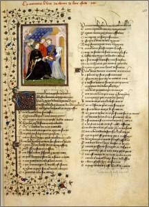Christine presenting a manuscript to Charles VI of France