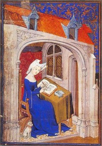 Christine de Pizan at work in her study; possibly the earliest portrait of a real woman in medieval Europe