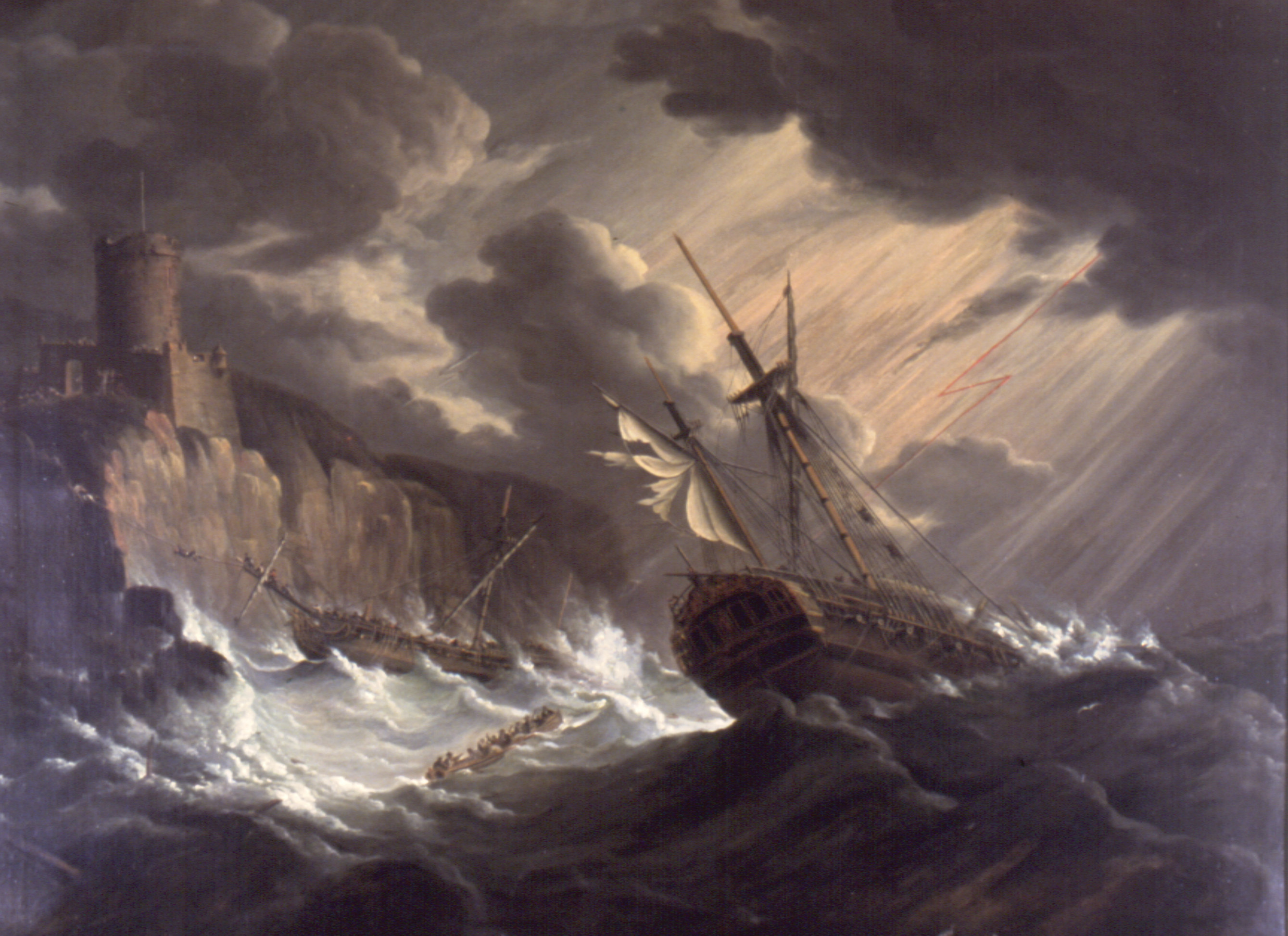 old sailing ship in storm
